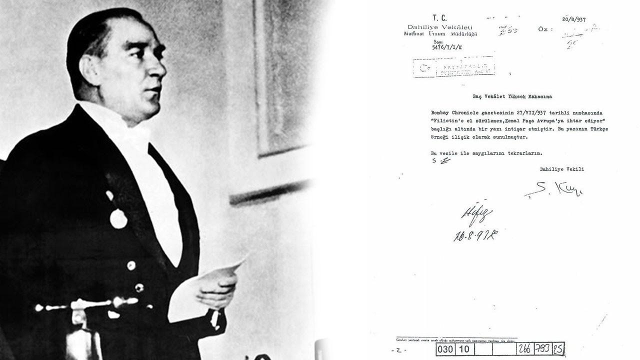 Atatürk: Filistin'e el sürülemez!