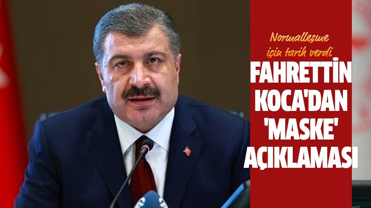 Fahrettin Koca'dan 'maske' açıklaması