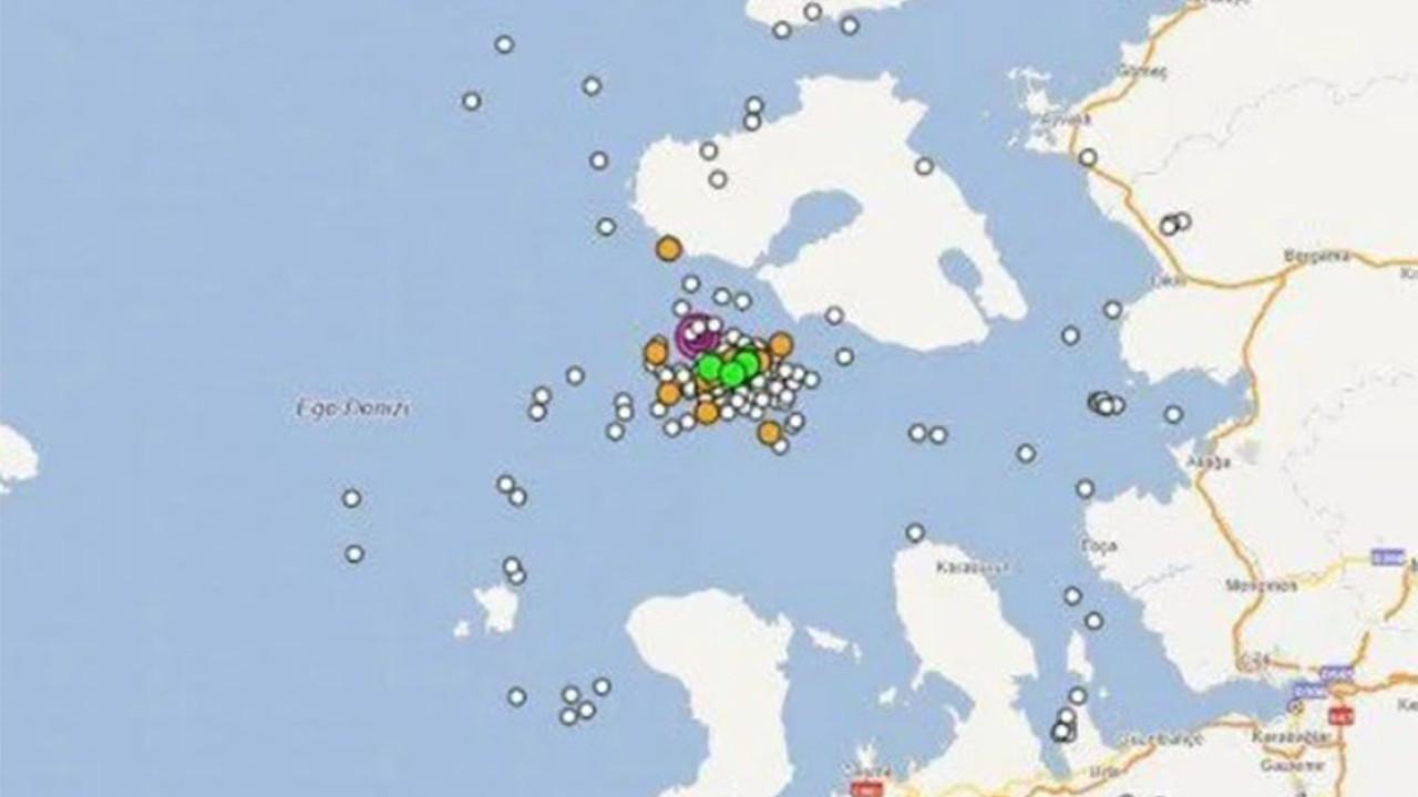 İzmir açıklarında son 1 saatte 47 adet deprem meydana geldi