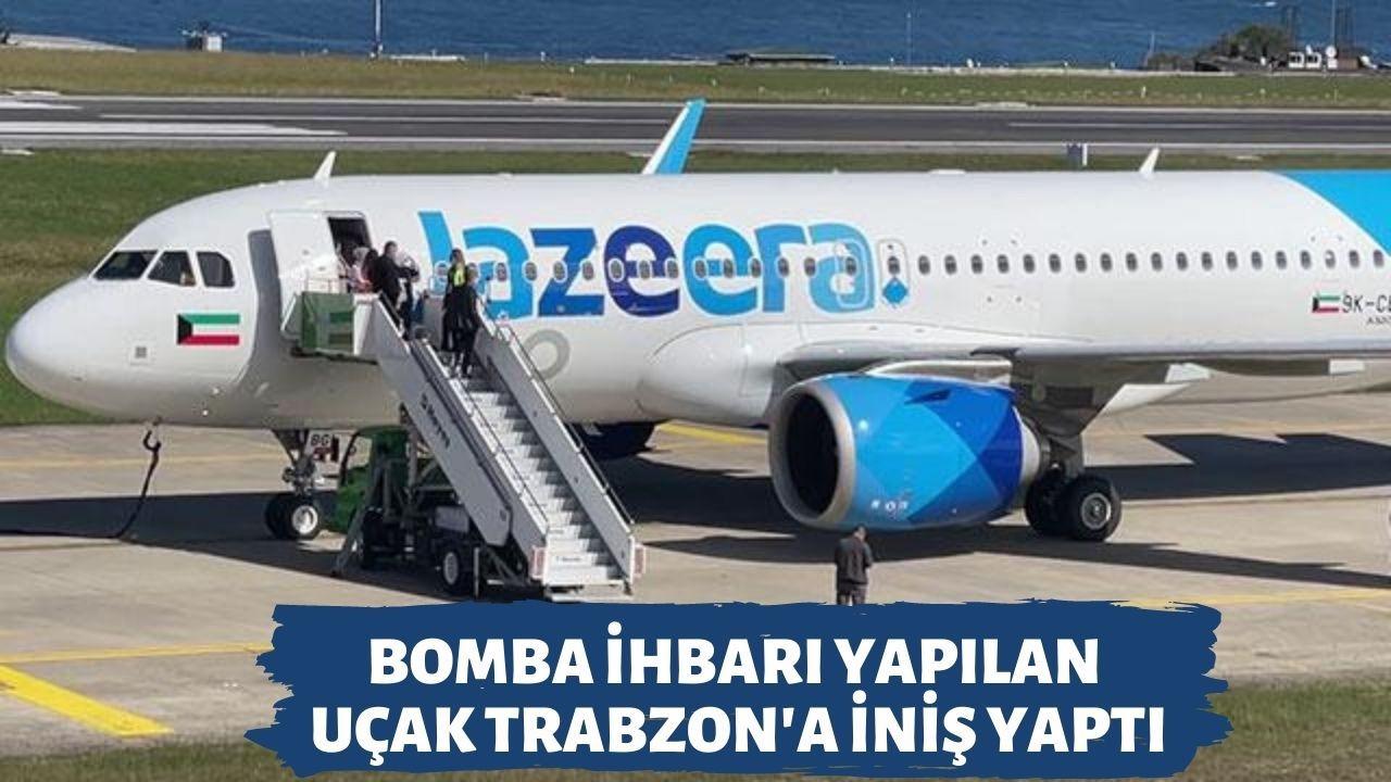 Bomba ihbarı yapılan uçak Trabzon'a iniş yaptı