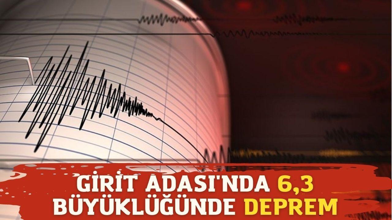 Girit Adası'nda 6,3 büyüklüğünde deprem