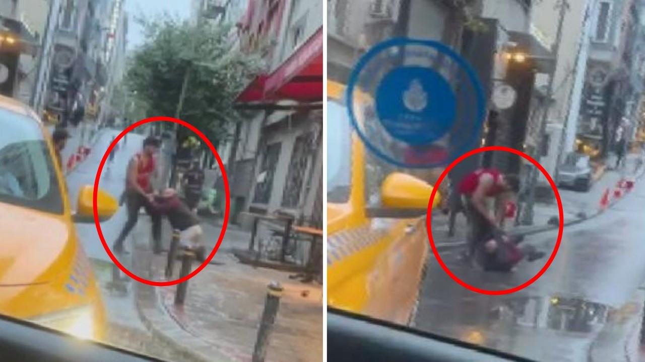 Otel çalışanını sokak ortasında tekme tokat dövdü
